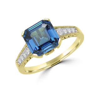 Exquisite blue CZ & diamond ring in 14k yellow gold