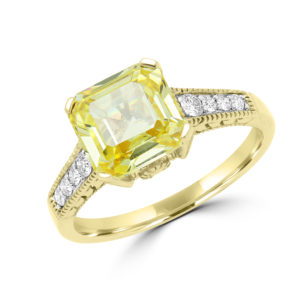 Splendid yellow canary CZ & diamond ring in 14k yellow gold