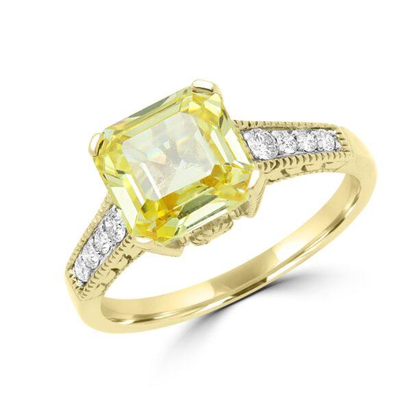 Splendid yellow canary CZ & diamond ring in 14k yellow gold