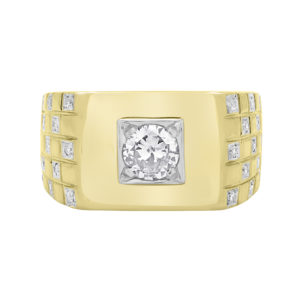 Compelling men's diamond ring 0.75(ctw) in 10k white and yellow gold