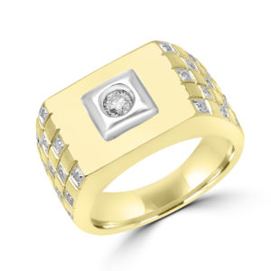 Bold men's diamond ring 0.45(ctw) in 10k white and yellow gold