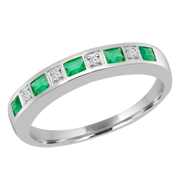 Diamonds emeralds semi eternity ring