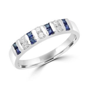 Princess cut sapphire & diamond semi-eternity ring in 18k white gold