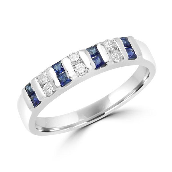 Princess cut sapphire & diamond semi-eternity ring in 18k white gold