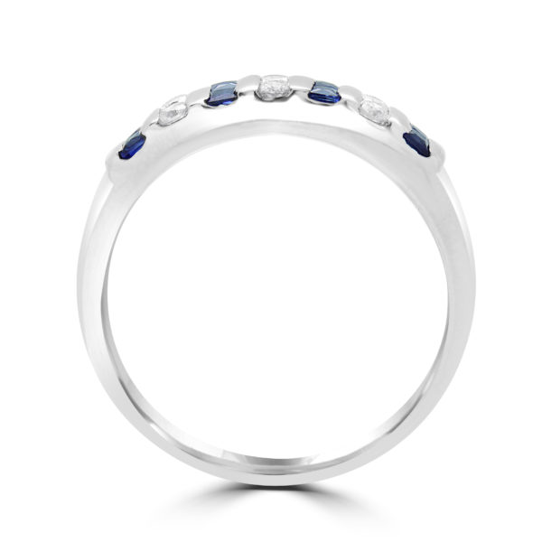 Princess cut sapphire & diamond semi-eternity ring in 18k white gold for website