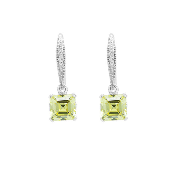Trendy diamond earring drops with canary color CZ in 14k white gold