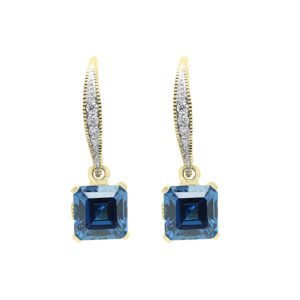 Fancy diamond earring drops with sapphire color CZ in 14k yellow gold