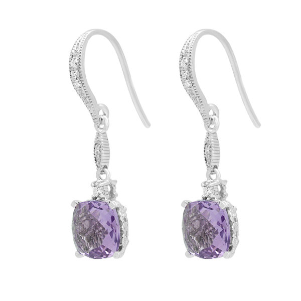 Trendy diamond earring drops with amethyst color CZ in 14k white gold