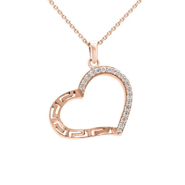 Adorable diamond greek key heart pendant in 10k rose gold