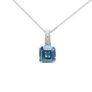 Fancy diamond pendant with blue sapphire colour CZ in 14k white gold