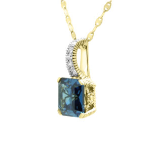 Fancy diamond pendant with blue sapphire colour CZ in 14k yellow gold