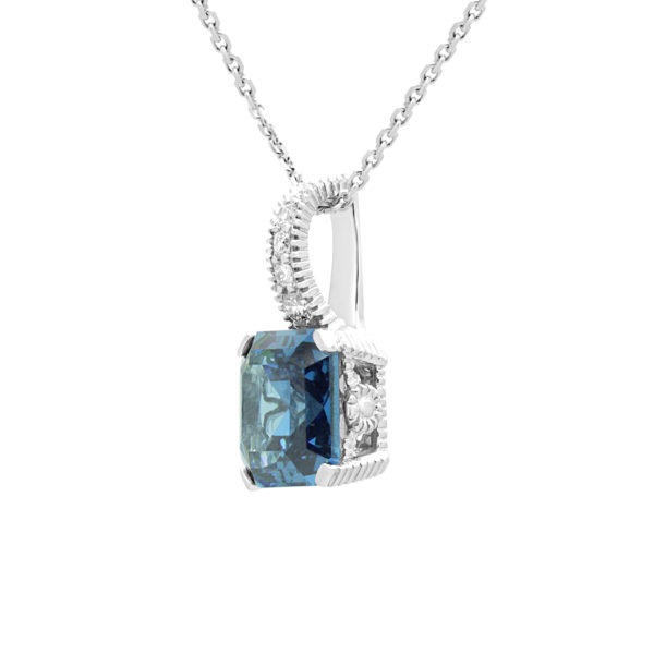 Fancy diamond pendant with blue sapphire colour CZ in 14k white gold