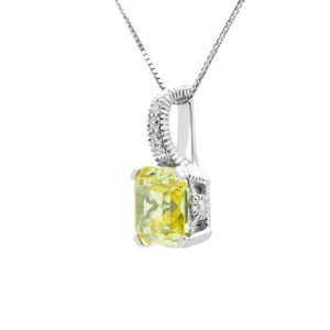 Fancy diamond pendant with canary colour CZ in 14k white gold