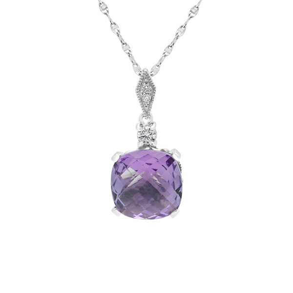 Fancy diamond pendant with amethyst colour CZ in 14k white gold