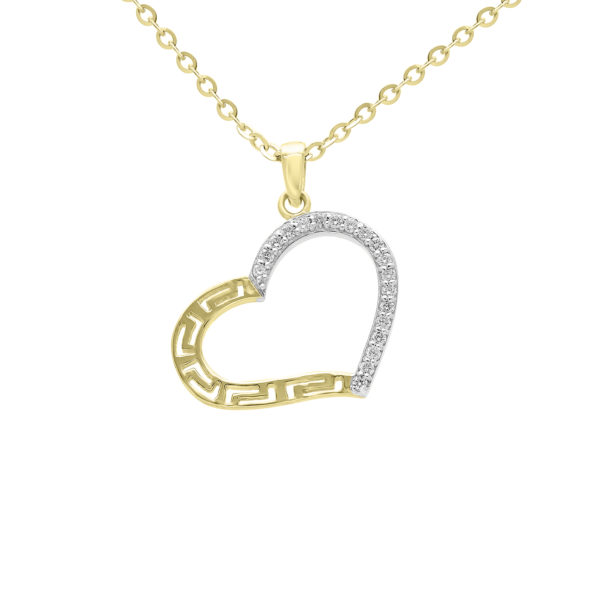 Diamond greek key heart pendant in 10k yellow gold