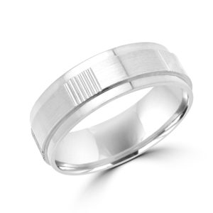 Edgy white gold wedding Band (6mm) Montreal