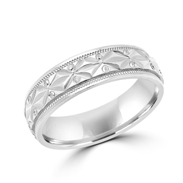Fantasy style white gold wedding Band (6mm)
