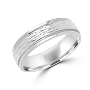 Spirited design white gold wedding Band (6mm)