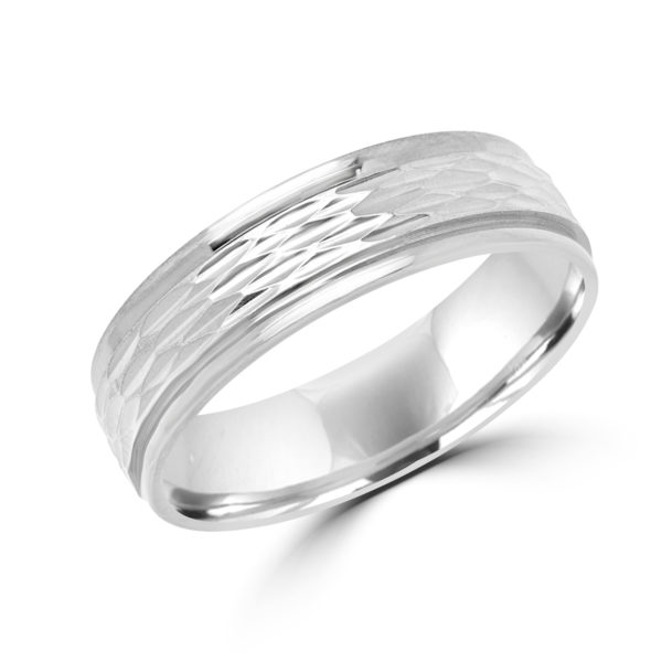 Spirited design white gold wedding Band (6mm)