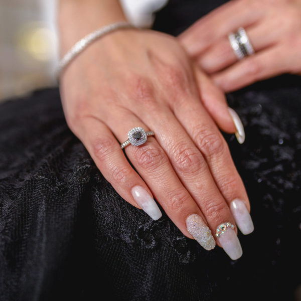 Jaw-dropping black & white diamond halo ring (1.18 ctw) in 14k gold