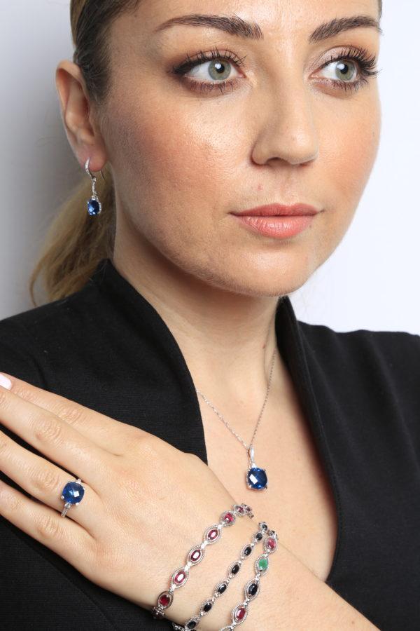 Earrings diamond & sapphire color CZ 0.16 (ctw) in 14k white gold