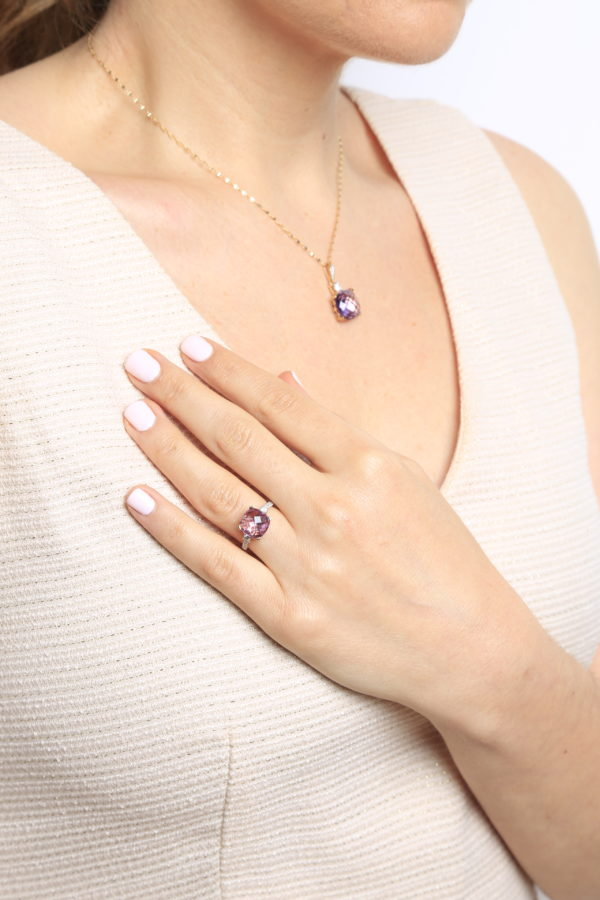Cushion cut amethyst color CZ & diamond ring in 14k white gold