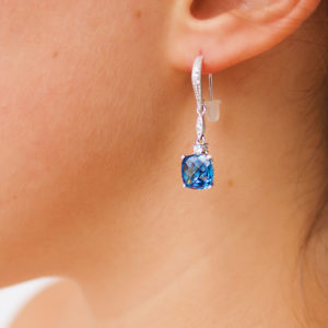 Fancy diamond earring drops with sapphire color CZ in 14k white gold