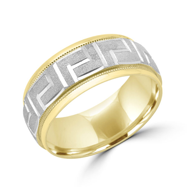 Greek key sandblasted finish wedding band 9mm