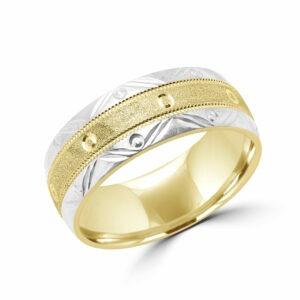 Two tone stylish yellow & white gold wedding band 8.5 mm