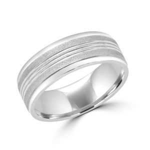 Brushed lines style white gold wedding Band 8mm