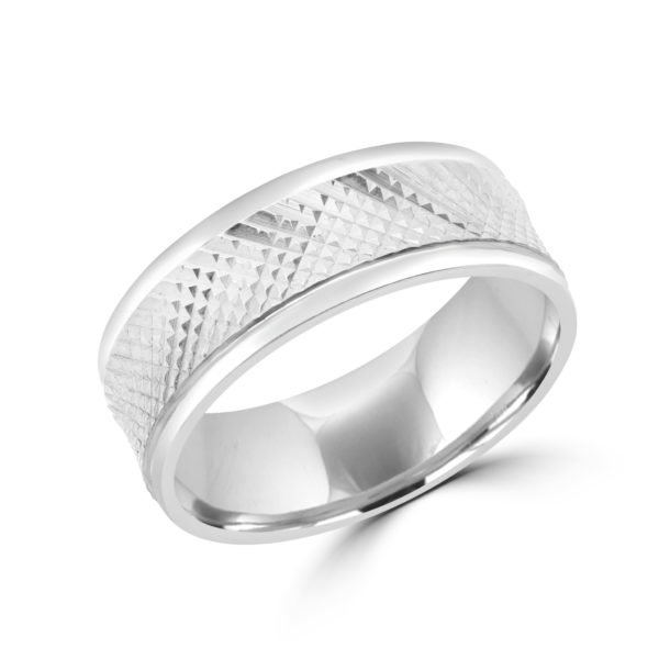 Ridge style white gold wedding Band 8mm