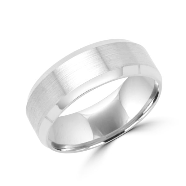 Spunky style white gold wedding Band 8mm