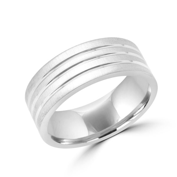 Elegant style white gold wedding Band 8mm