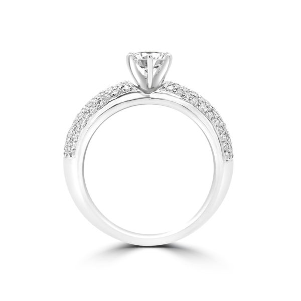 Cluster band solitaire engagement ring 1.16 (ctw) in 18k gold
