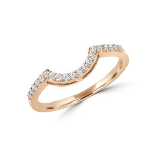 Curved rose gold semi-eternity ring in 14k gold