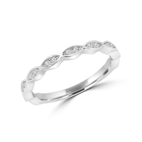 Marquise design semi-eternity in 14k gold
