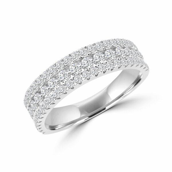 Glamour & glitz semi-eternity ring in 14k gold