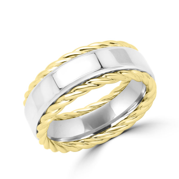 Gold rope white & yellow wedding band style design 9mm