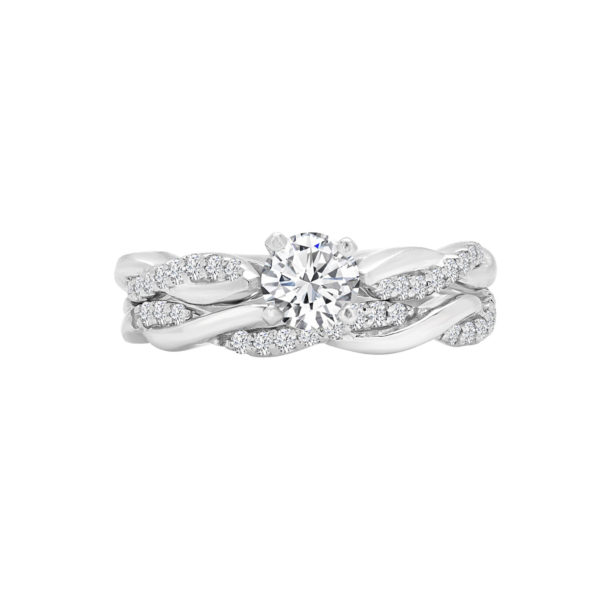 Twisted diamond bridal set in 14k gold