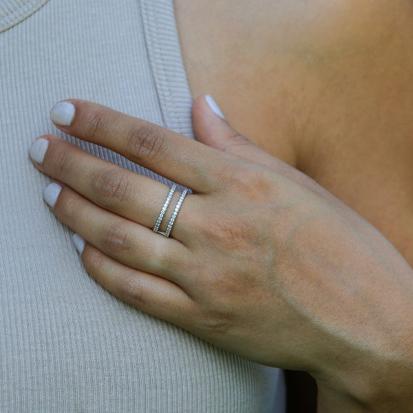 Two rows of love semi eternity 0.52 (ctw) ring in 10k gold