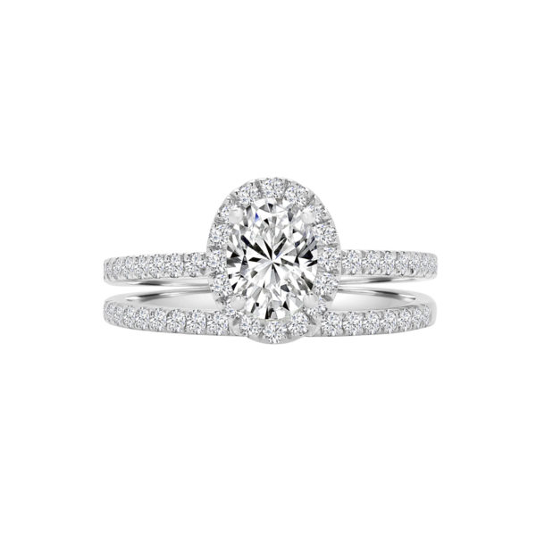 Oval luxurious halo engagement ring wedding set