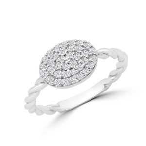 Diamond cluster & torsade ring in 14k white gold