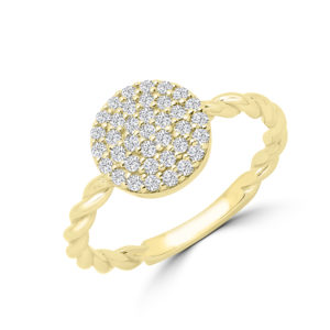 Diamond cluster cocktail ring in 14k yellow gold