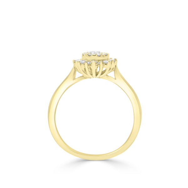 Sunshine halo engagement ring 14k in yellow gold