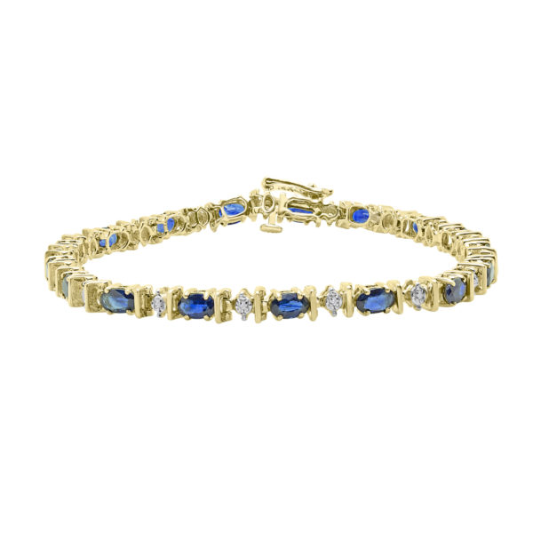 Diamonds and oval cut sapphires bracelet in 14k yellow gold