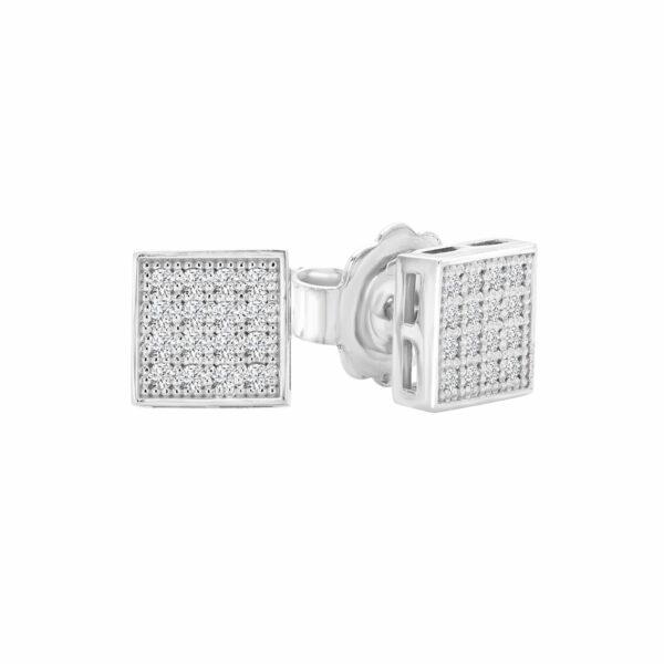Square diamond earrings in 14k white gold