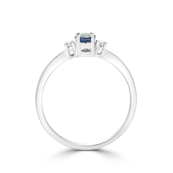 Bright blue sapphire & diamond solitaire ring in 10k white gold