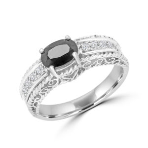 Dark sapphire & diamond ring 0.66 (ctw) in 10k white Gold