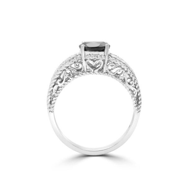 Dark sapphire & diamond ring 0.66 (ctw) in 10k white Gold