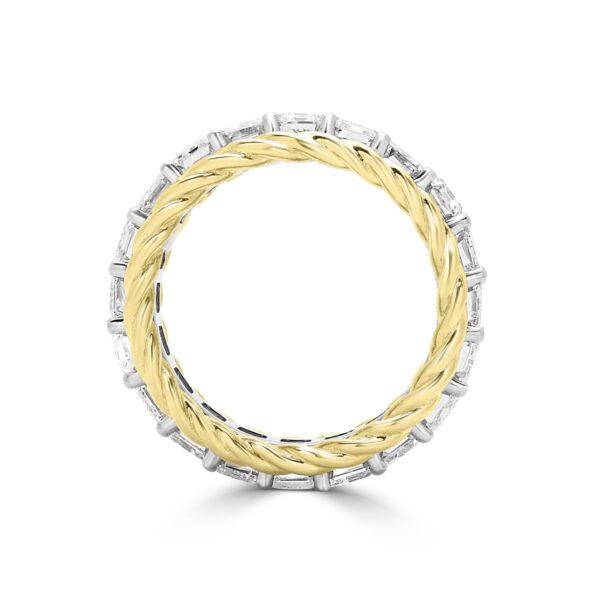 Emerald cut diamond eternity ring in 18k yellow gold & 19k white gold
